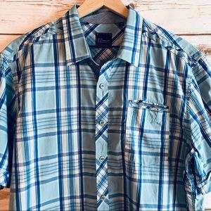 7 Diamonds Shirts - 7 Diamonds Blue Plaid Button Up Shirt Sleeve Shirt